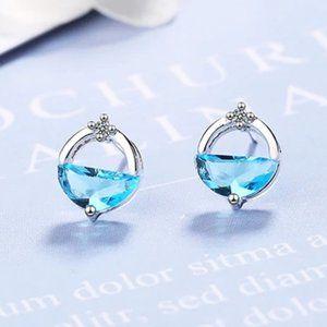 *NEW Sterling Silver Diamond Waterdrop Earrings